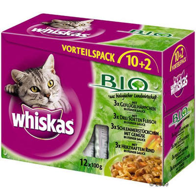 Whiskas bio vershoudzakjes     12 x 100 g van kantoor artikelen tip.