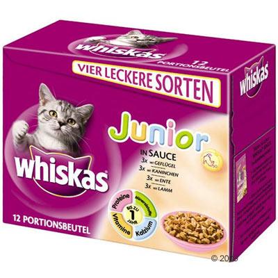 whiskas junior vershoudzakjes 12 x 100 g     fijne vleesreepjes in saus