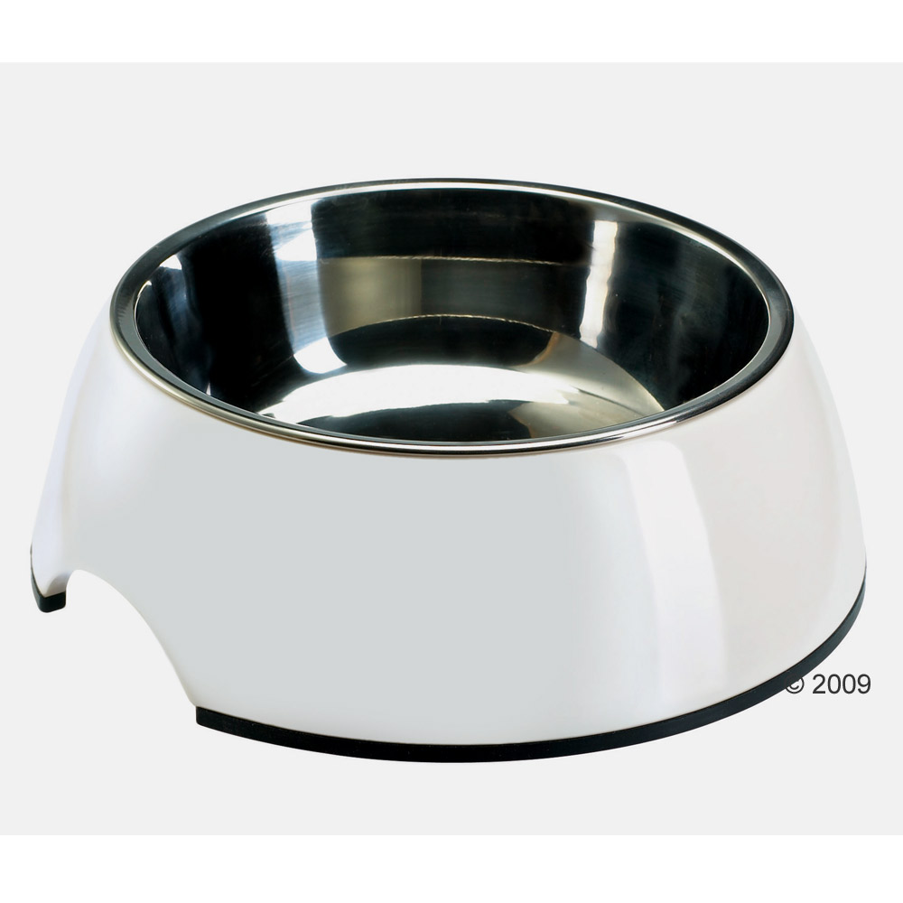 Witte melamine voerbak met roestvrij stalen inleg     0,35 l van kantoor artikelen tip.