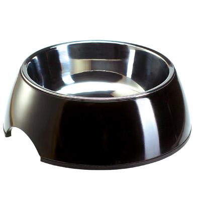 Zwarte melamine voerbak met roestvrij stalen inleg     0,16 l van kantoor artikelen tip.