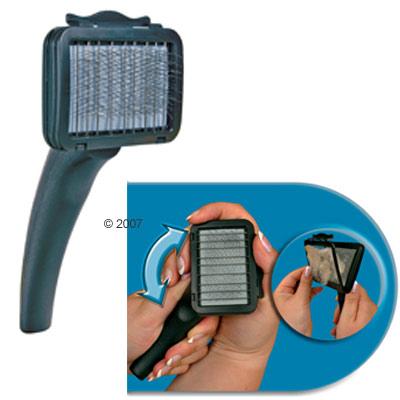 trixie softborstel met  te draaien handvat     groot: l 17 x b 12 cm, borstelkop: l 11,5 x b 7,5 cm