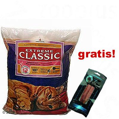 15 kg extreme classic kattengrit   kitty snack gratis!     15 kg