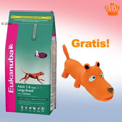 12/12,5/15 kg eukanuba   piepend hondenspeeltje  gratis!     adult kip voor grote rassen (15 kg)   speeltje van kantoor artikelen tip.