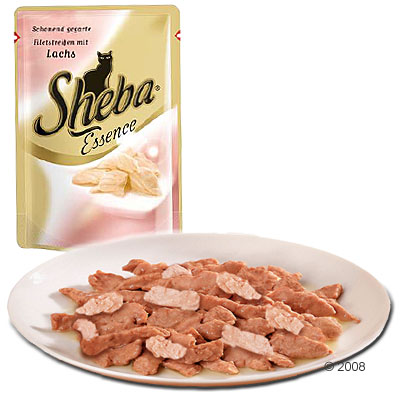 sheba essence 6 x 85 g     gegaarde mini filets met een in gelei