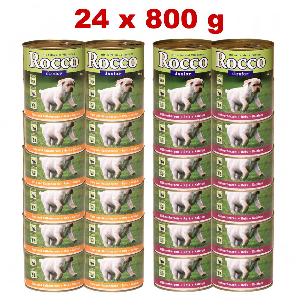 Voordeelpakket  rocco junior 24 x 800 g     24 x 800 g kippehartjes   rijst   calcium van kantoor artikelen tip.