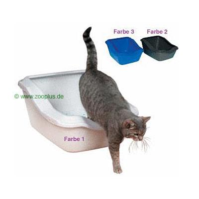trixie cleany cat kattenbak met rand     blauw metallic