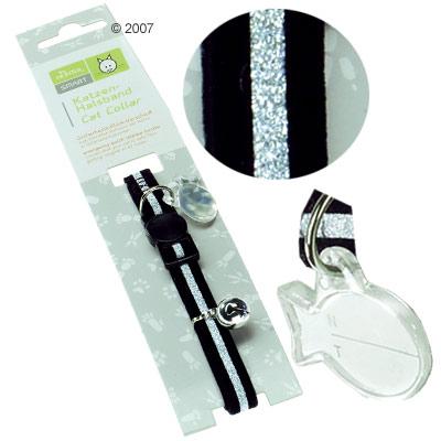 hunter kattenhalsband silver velvet     zwart