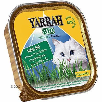 yarrah bio brokjes in saus 6 x 100 g      kip met kalkoen