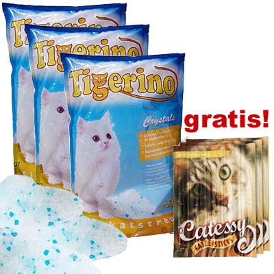 3 x 5l tigerino crystals   15 catessy sticks gratis!     3 x 5 l   15 catessy sticks gratis!
